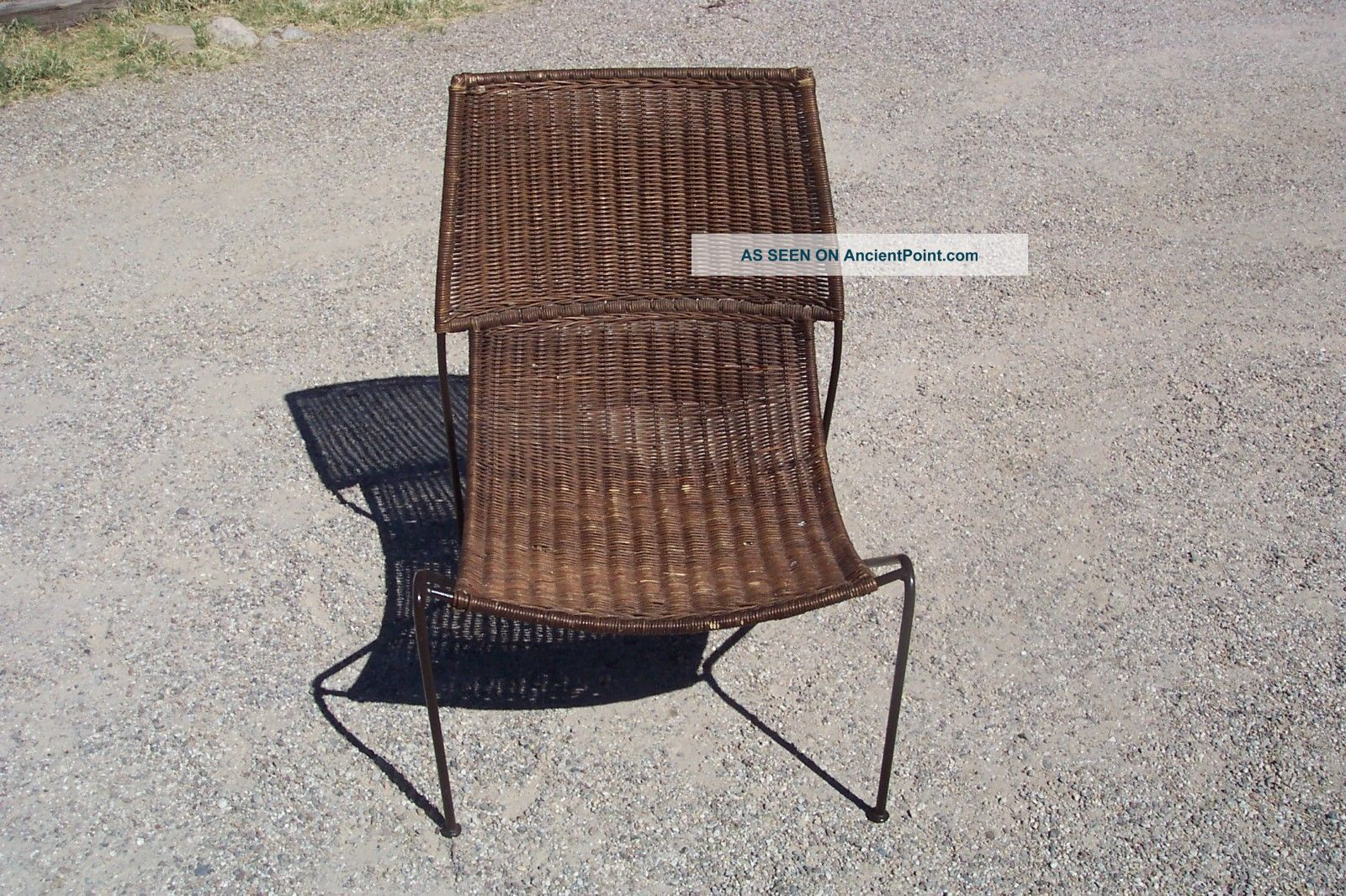 Picture of: Vtg Frederick Weinberg Mid Century Modern Iron Wicker Lounge Chair