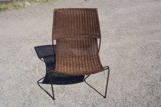Vtg.  Frederick Weinberg Mid Century Modern Iron & Wicker Lounge Chair photo