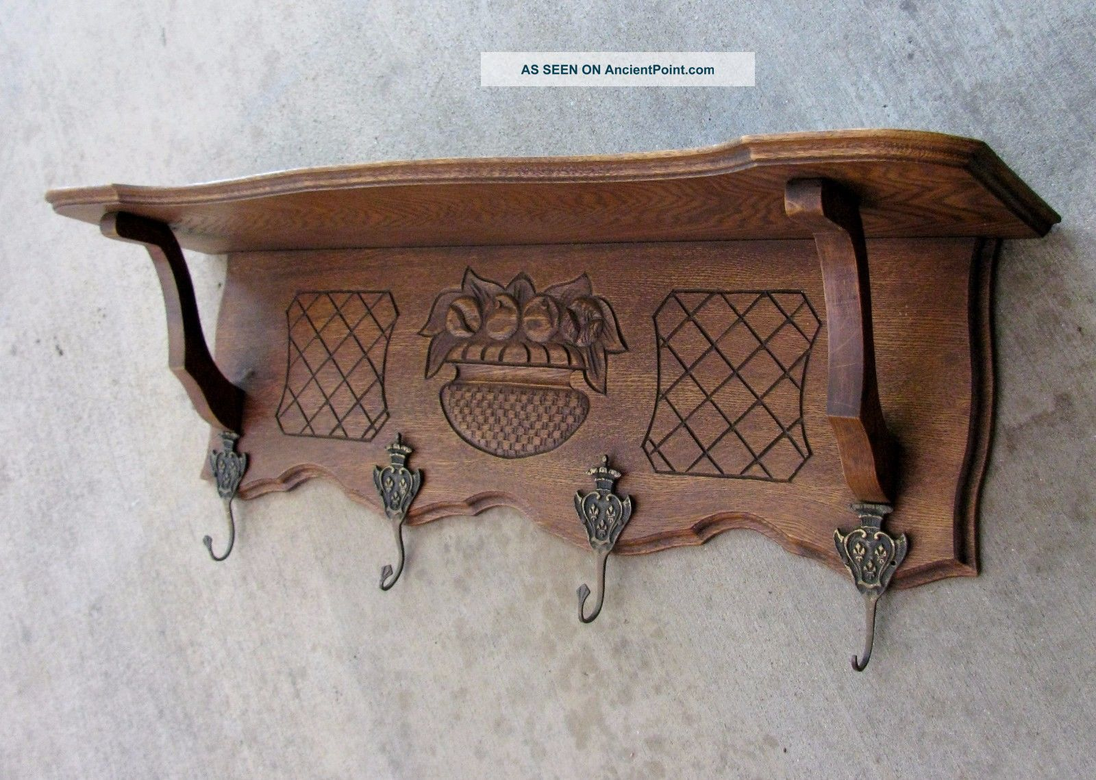 Antique French Carved Oak Wall Shelf Plate Coat Rack Copper Pot Scalloped 1900-1950 photo