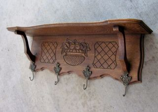 Antique French Carved Oak Wall Shelf Plate Coat Rack Copper Pot Scalloped photo
