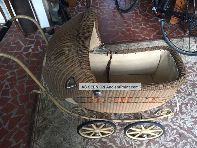Vintage Wicker Carriage Baby Doll Buggy,  Stroller Pram Metal Frame Wood Wheels Baby Carriages & Buggies photo