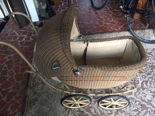 Vintage Wicker Carriage Baby Doll Buggy,  Stroller Pram Metal Frame Wood Wheels photo