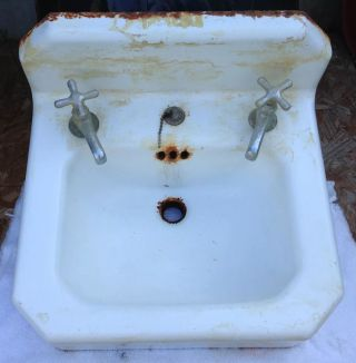 Vintage Mid Century Kohler White Porcelain Cast Iron Bathroom Sink photo