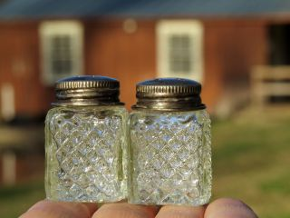 Antique Cut Glass Silver Top Salt & Pepper Shakers Sweet Briar Boat House Estate photo