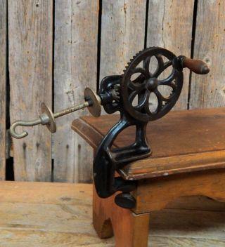 Early Antique Primitive Cast Iron Crank Thread Bobbin Spool Winder Sewing Tool photo