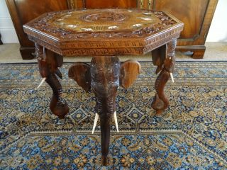 Antique Anglo Indian | Oriental Rosewood Profusely Carved Elephant Table photo