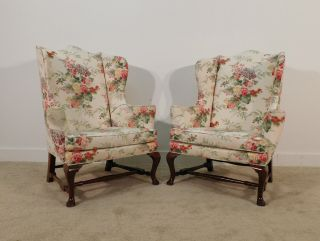 Pair Kittinger Colonial Williamsburg Cw - 44 Mahogany Fireside Or Wingback Chairs photo