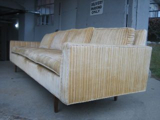 Vintage Milo Baughman Sofa Thayer Coggin Label Teak Base Fabric 4 - Seats photo