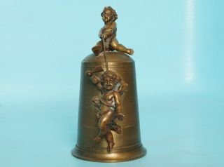 Antique Bronze Brass Stag Bone Sewing Etui Thimble Angels Putti 1880 French? photo