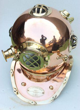 Nautical Marine Scuba Diving Divers Helmet Us Navy Copper Finish Antique Decor photo