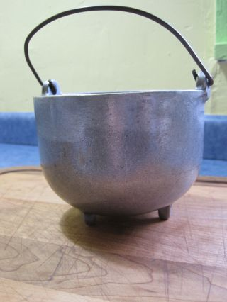 Antique Heavy Aluminum Pot With Brass Handle photo