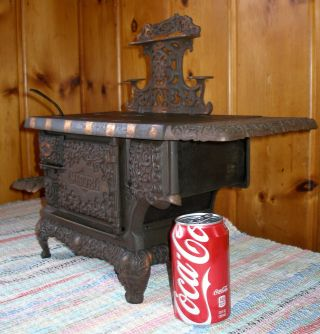 C.  1900 Large Marvel Range Cast Iron Toy Stove,  Kenton,  Electro - Oxidized Antique photo