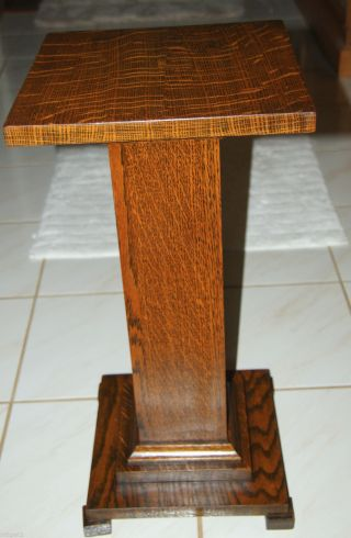Antique Tiger Oak Pedestal Stand. photo