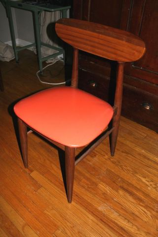 Mid Century Modern Chair Teak ? Orange Vinyl Accent 1950 ' S True Vintage Utah photo