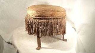 Neat Petite Old Antique Foot Stool Hassock With Fringe photo