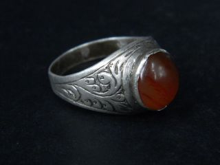 Ancient Silver Ring With Stone 1900 Ad Stc169 photo
