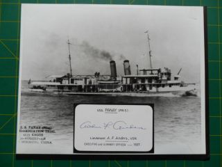 1937 Uss Panay (pr - 5) China Gunboat Signed By Lt Anders Xo & Guns When Sunk photo