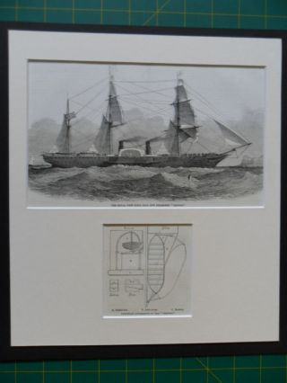 1852 Iln Print Merchant Steam Ship Orinoco Depicting Lifeboat Apparatus photo