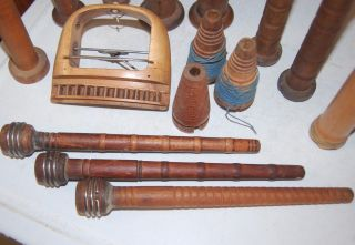 Antique Primitive Wood Shuttle Bobbin Spool Spindle Vintage Sewing Country Decor photo