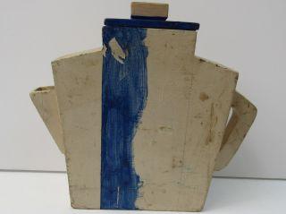 Folk Art Wood Tea Pot Cannister,  Storage,  Hand Painted,  Antique photo