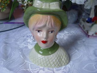 Pretty Lady Head Vase - Green And White Dress With Pearl Earrings And Green Hat photo