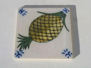 Vintage Portuguese Portugal Sant Anna Lisboa Pineapple Tile photo
