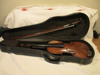 Antique Violin German Vintage Old Fiddle With Case 1850 ' S Unknown Maker photo