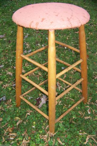 Vintage Primitive Antique Wood Stool 26