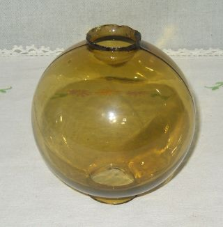 Vintage Honey Amber Glass Plain Round Lightning Rod Ball - Slightly Smaller photo