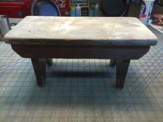 Antique Primitive Handmade Step Stool 16.  5