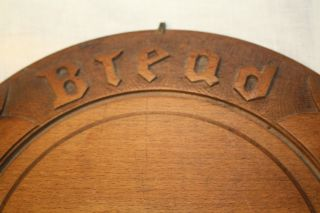 Antique Hand Carved Wood Bread Plate photo