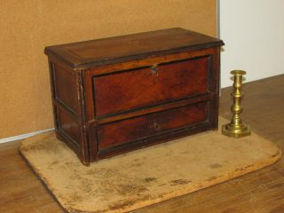 Great 19th C Pa Miniature Paneled Blanket Chest In Best Grained Paint photo