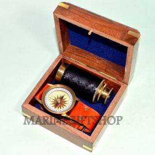 Nautical Vintage Maritime Brass 6  Pirates Spyglass Telescope With Wooden Box photo