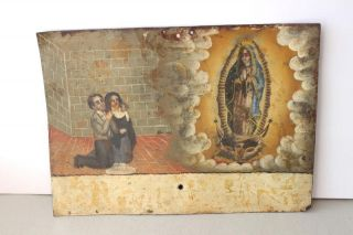 Antique Mexican Couple Thanking Lady Of Guadalupe Folk Art Painted Tin Retablo photo