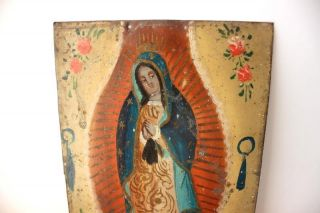 Antique Mexican Lady Of Guadalupe Folk Art Painted Tin Retablo photo