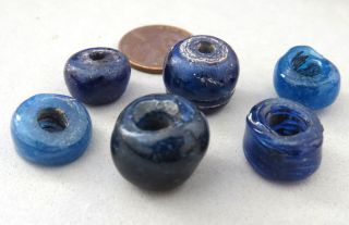 Antique Islamic Beads Blue Wound Glass Rare Old photo