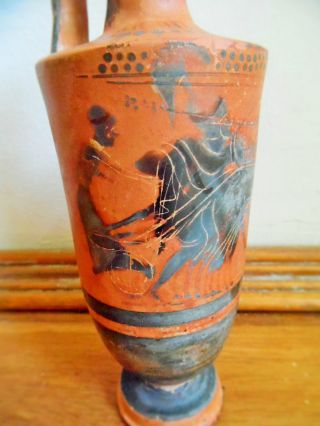Large Ancient Greek Attic Black Figure Lekythos Battle Scene 490 - 500 B.  C. photo