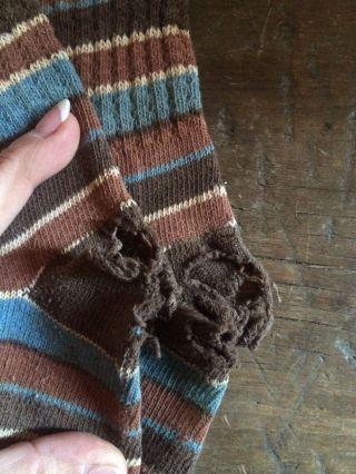 Antique Old Socks Blue Brown Cream Striped Well Worn Aafa photo