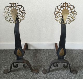 Antique Andirons Arts & Crafts Hand Wrought/forged Brass Medallions photo