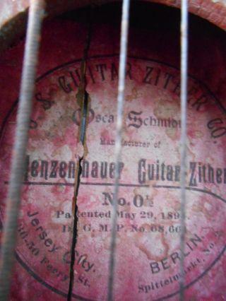 Antique Menzenhauer Guitar - Zither 0 1/2 5/29/1894 Oscar Schmidt photo