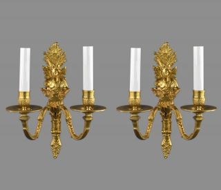 Figural Gilded Bronze Wall Sconces C1930 Italian French Style Vintage Antique photo