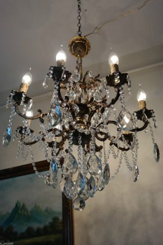 Antique Vintage 8 Arms Crystal Chandelier Lamp Light Luster 1940s 24in photo