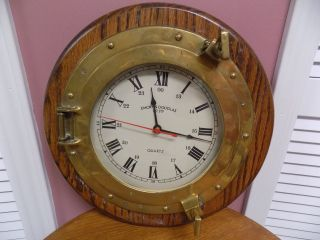 Vintage Brass & Oak Nautical Ship Porthole & Emory & Douglas Wall Clock photo