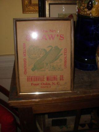 Vintage Framed Bentonville Milling Co.  Shaw ' S Ground Cornmeal Cornmeal Bag photo