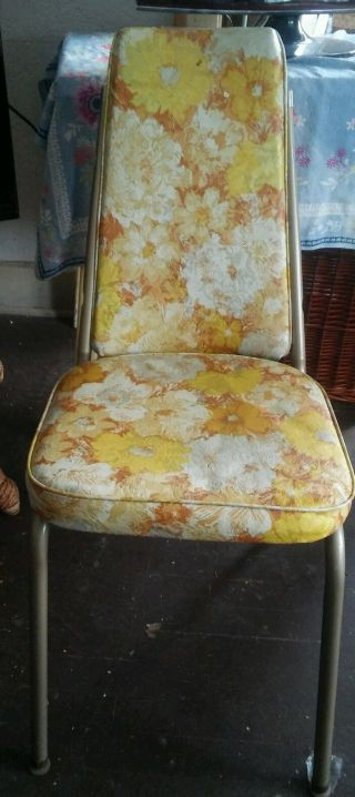 Vtg Vinyl Kitchen Chairs 4 Kitchenette Chairs Gold Floral Yellow 1960s photo