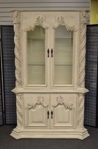 Vintage Ornate 2 Piece Venetian Style Small China / Curio / Display Cabinet photo