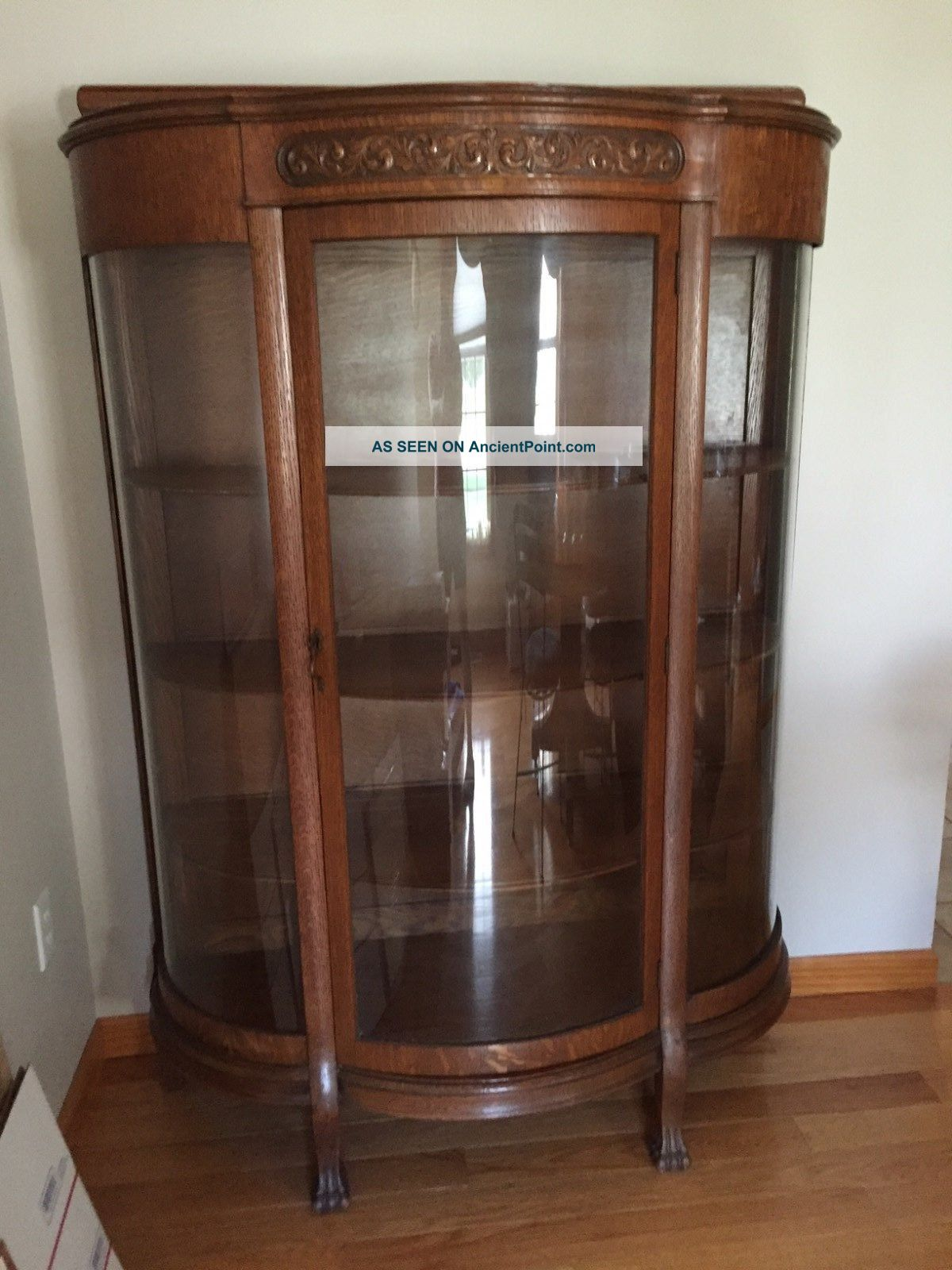 Antique Oak China Cabinet W/ Clawfeet W/ Scroll Detail 1900 - 1950 1900-1950 photo