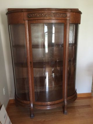 Antique Oak China Cabinet W/ Clawfeet W/ Scroll Detail 1900 - 1950 photo