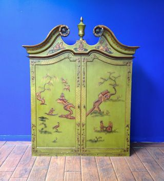 Antique - Style Chippendale Chinoiserie Blind Door Secretary Altar Pick - Up Only photo