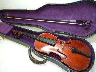 Vintage Full Size 4/4 Scale Czechoslovakia Stradivarius Copy Violin W/case & Bow photo
